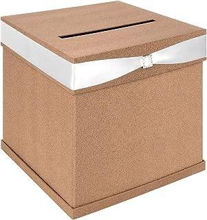 Andaz Press Glitter Wedding Card Box with Slot, White Satin Ribbon and Rhinestone Buckle, 10