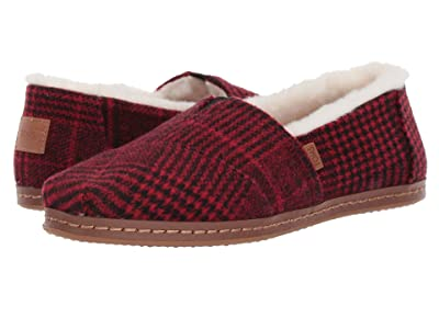 TOMS Alpargata (Red Abstract Plaid/Faux Fur) Women