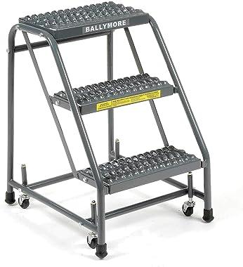 "Ballymore 318G Grip 16""W 3 Step Steel Rolling Ladder 10""D Top Step"