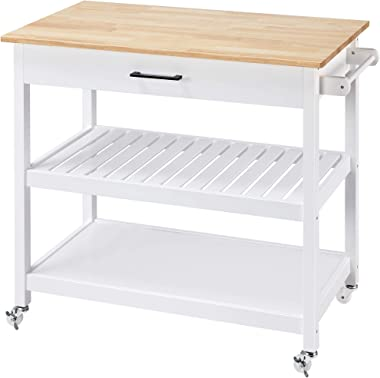 Topeakmart Kitchen Trolley Cart on Wheels, Rolling Kitchen Island with Storage Drawer Towel Rack Lower Shelf Natural Wood Cou