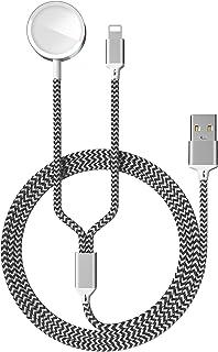 2 en 1 Cable de Carga Magnética para Apple Watch 6/SE/5/4/3/2/1, Cargador USB Charger Compatible con iPhone 11 MAX Pro/XR/...