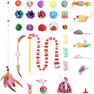 VANFINE 30PCS Cat Toys Set for Small, Medium, Large Cats, Includes Cat Teaser Wand, Mice Suction Cup, Tumbler Toy, Cotton Mice, Linen Ball, Crinkle Balls, Springs, Chew Stick, Catnip and More