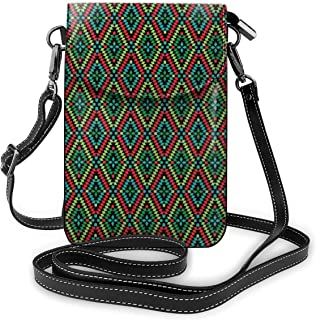 Jiger Women Small Cell Phone Purse Crossbody,Colorful Geometric Shapes In Rhombus Pattern Arrangement Of Traditional Ethni...