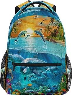 Women/Man Special Dolphin Island Fantasy Animals Zipper College Bookbag Travel Rucksack Gym Bag For Youth