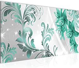 Vector bloemen wanddecoratie lelie - 100 x 40 cm canvas kamer appartement met uitzicht - klaar te hangen - 009412b