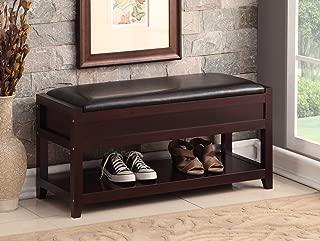 Espresso Bonded Leather Entryway Shoe Bench Shelf Storage Organizer