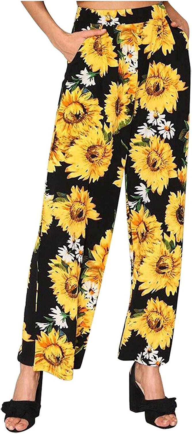 Sunflower Print Women's Wide Leg Pants Halloween Party Pants Spring and Autumn Casual Home Pocket Casual Pants