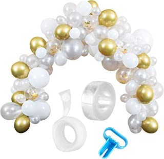 Styl'd Setter Balloon Garland Kit - 114 Pieces with 16 Feet Decoration Strip, White and Gold Latex Balloon Arch Garland with Confetti Balloons for Weddings, Birthdays, Baby Showers, Parties