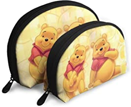 JINUNNU Makeup Bag Winnie Pooh Cosmetic Pouch Clutch Portable Bags Handbag Organizer with Zipper 2Pcs