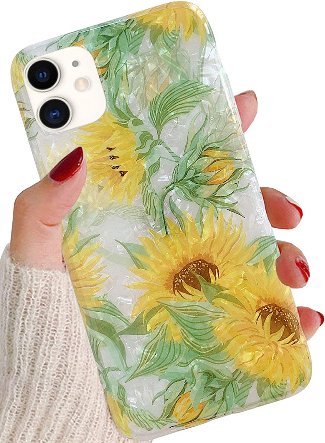 J.west iPhone 11 Case 6.1-inch,Luxury Sparkle Translucent Clear Floral Sunflowers Design Print Soft Case for Girls Women Shockproof Slim Silicone TPU Protective Phone Case Cover for iPhone 11 Flower