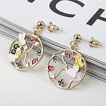 6 style Earrings for Women Alice in Wonderland Mr.Rabbit Poker card Drop Earrings Fashion jewelry Ear Studs
