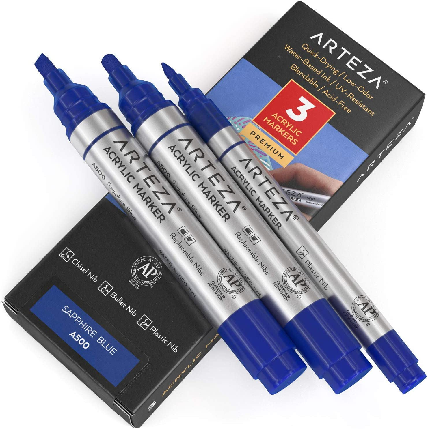 Arteza Acrylic Paint Markers Pack of T Sapphire 1 Japan's largest assortment A500 Blue Limited price sale 3