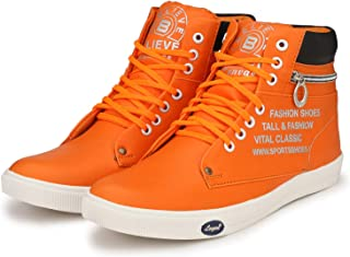 Believe High Top Sneakers for Men Red Shoes (Size_6)