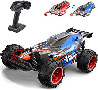 YIMAN RC Truck 2.4GHZ Remote Control Car High Speed RC Racing Car, 1/22 Toy Vehicle Car for Kids Gift with Two Shells, Blue and Red RC Car, 800mAh Rechargeable Battery