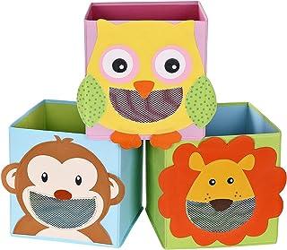 SONGMICS Lot de 3 Boîtes de Rangement, Organisateurs Jouets, Cubes Pliables, pour Salon, Chambre Enfant, Salle de Jeux, 27...