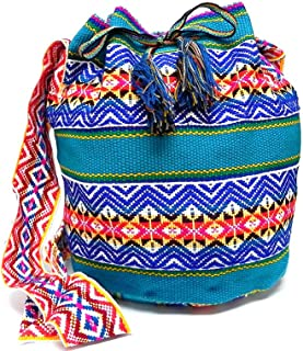 c0cc763b0 Large Multicolored Tribal Print Striped Pattern Casual Travel Woven Wool Bucket  Purse Bag Tassel Drawstring Crossbody
