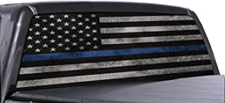 FGD Brand Truck Rear Window Wrap Thin Blue Line American Flag Perforated Vinyl Decal