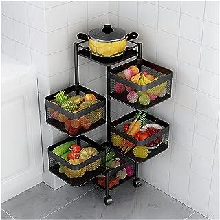 Étagère à Fruits Organisateur de Cuisine étagères à légumes rotatives au Sol étagère d'angle Multicouche étagère de Rangem...