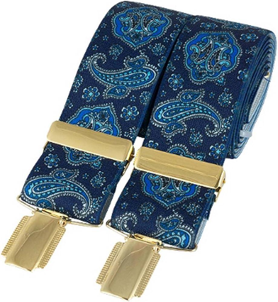 David Van Hagen Mens Classic Paisley Fashion Brace - Blue