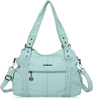 Angel Barcelo Roomy Fashion Hobo Womens Handbags Ladies Purse Satchel Shoulder Bags Tote Washed Leather Bag Size: Large