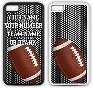Custom Football iPhone 6s Case Fits iPhone 6s or iPhone 6 Create Your Own Design Tough Cell Phone Case with Any Jersey Number Name in Black Rubber Black Plastic F1075 by TYD Designs