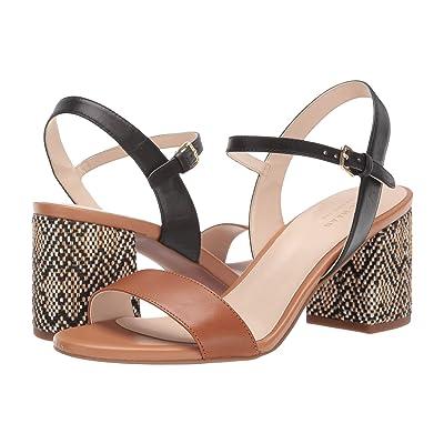 Cole Haan Josie Block Heel Sandal (Black Leather/British Tan Leather) Women