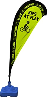 Kids Playing Extra Large 6.4 Foot Teardrop Banner Flag Safety Sign with Fiberglass Poles and Weighted Base for Yards and Driveways -