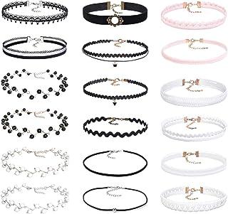 JTX Choker Set 18 PCS Black Classic Velvet Stretch Elastic Choker Necklace for Women Girls