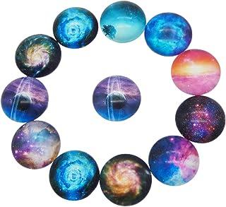 JJG 50 PCS Starry Sky Nebula Glass Dome Cabochons Half Round Flatback, 8-30mm Diameter, Random Color, 20mm