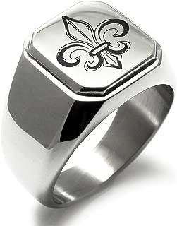 Stainless Steel Valorous Fleur De Lis Symbol Square Flat Top Biker Style Polished Ring