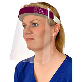 [2 Pack] Made in USA Safety Reusable Face Shields Full Face Protection with Anti-Fog Anti-Static and Hypoallergenic Foam, Burgundy