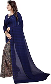 ETHNICMODE India Women's Georgette Saree with Blouse Piece (Multi-Color_Free_Size) Half Navy