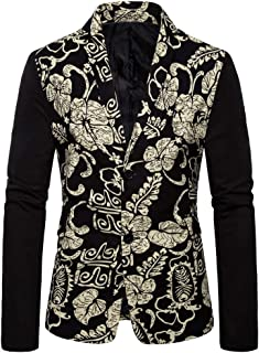 JoCome Mens Floral Tuxedo Vintage Jackets Paisley One Button Stylish Dinner Jacket Wedding Party Printed Dress Suit Blazers