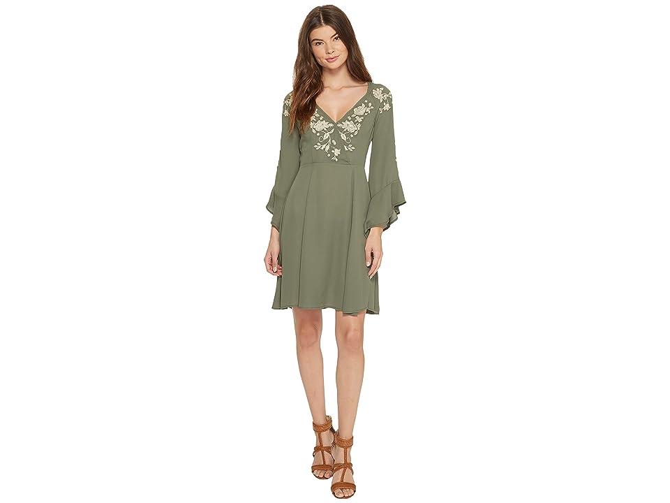 Stetson 1403 Solid Crepe Dress (Green) Women