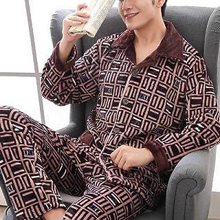 GANNER Winter Thicken Warm Soft Coral Fleece Pijamas Hombres Ropa De Dormir De Manga Larga Pijama Pareja Homewear Nightwea...