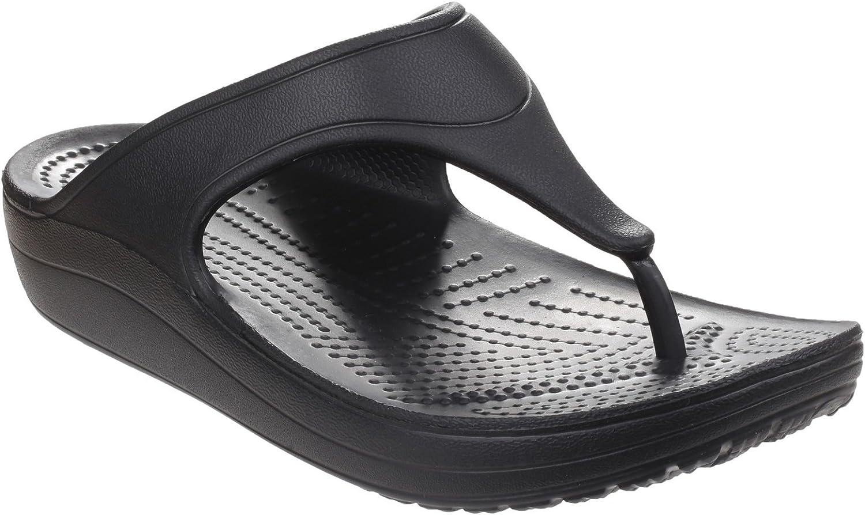 Crocs Womens Ladies Sloane Platform Flip Flops (10 US) (Black)