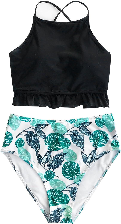 Joy&Bella Printing Ruffed Hem Back Lace Up Bikini Set HighWaisted Swimsuit Padded Bathing Suit Swimwear