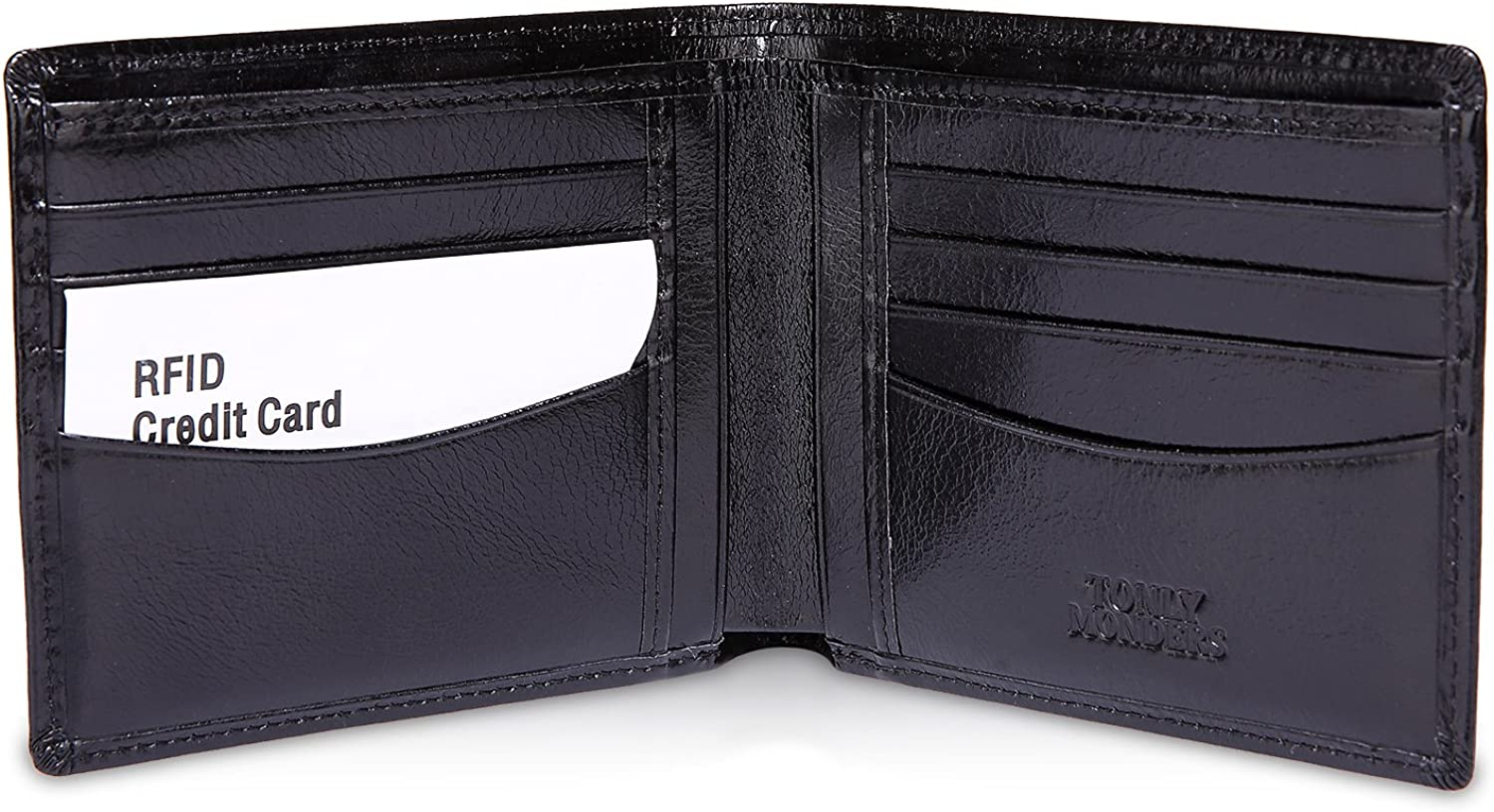 Tonly Monders Top Grain Leather RFID Blocking Wallet Bifold Front Pocket Wallet Black