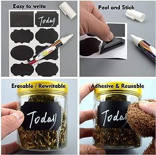 Chalkboard Labels | 96pcs Waterproof Reusable Blackboard Matte Black Sticker Kit For An Organised Kitchen | Includes 1 Erasable White Chalk Pen To Label Your Mason Jars and Bottles