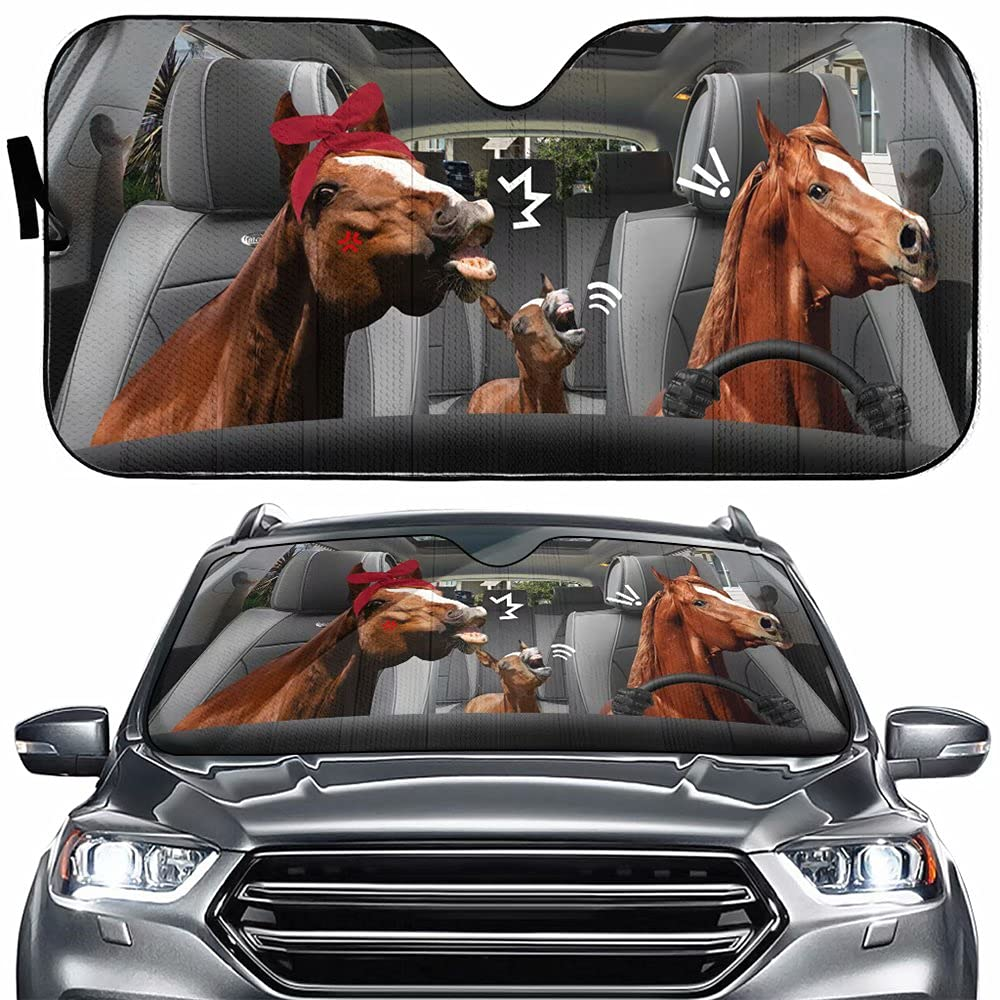 Farm Horse Family Driving Auto Windshield Sun Shade, Funny Universal Foldable Sun Visor Protector Sunshade for Car Truck SUV to Keep Your Vehicle Cool.