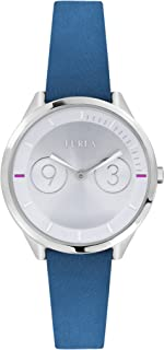 Furla Women's R4251102508 Silver Dial with Blue Leather Calfskin Band Watch.