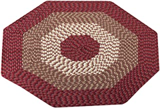 Collections Etc Versatile Alpine Braided Accent Rug with 3-Tone Coloring for Any Room, Burgundy, 4' Octagon