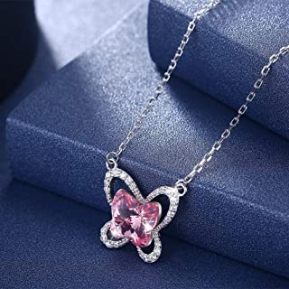 Crystal Necklace European and American Silver Sterling Silver 925 Clavicle Chain (Color : Light Blue) Girls Necklace (Color : Pink)