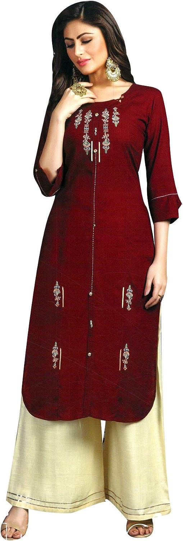 Details about  /Indian Kurta with Palazzo Kurti Dress Set Women Ethnic Top Tunic Bottom Pant New