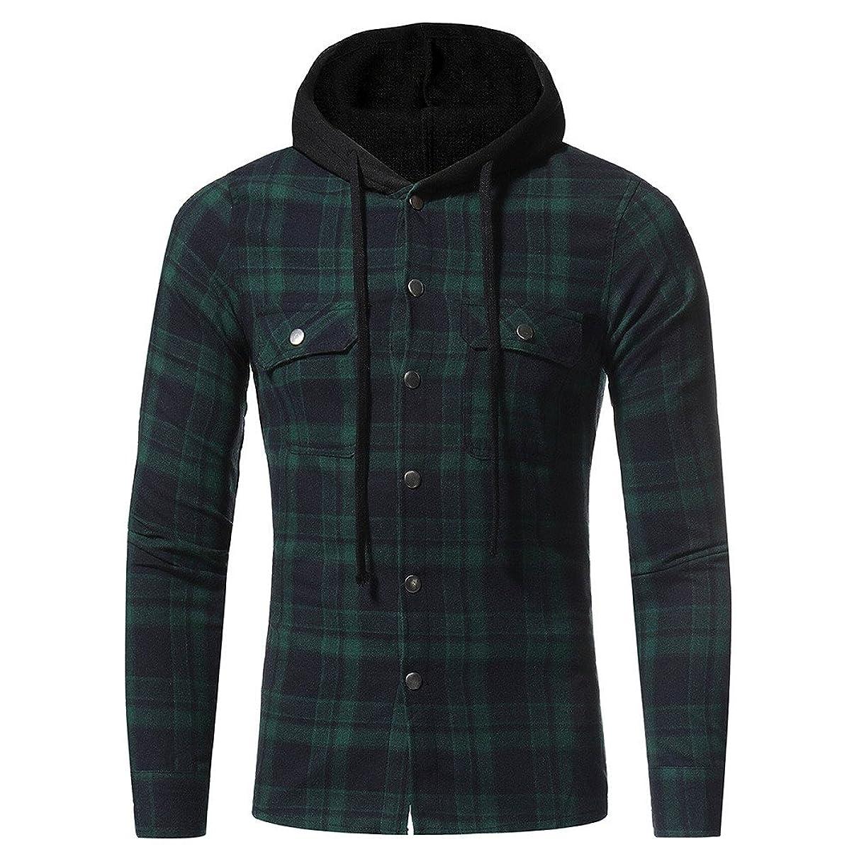 Plaid Shirt Men Duseedik Autumn Long Sleeve Hoodie Hooded Sweatshirt Tops Jacket Coat Outwear