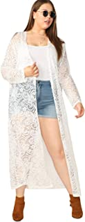 Women's Plus Size Floral Open Front Sheer Casual Long Kimono Cardigan Cover Up