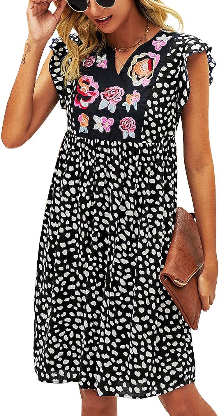 KIRUNDO Women's Summer Leopard Mini Dress V Neck Bohemia Dress Sleeveless Flowy Loose Badydoll Dress Casual Floral Dress