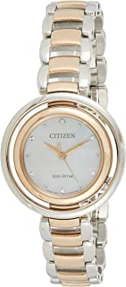 CITIZEN Womens Solar Powered Watch, Analog Display and Solid Stainless Steel Strap - EM0666-89D
