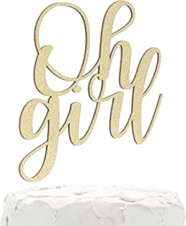 NANASUKO Baby Shower Cake Topper - Oh girl - Double Sided Gold Glitter - Premium Quality Made in USA (Oh girl cursive)
