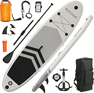 Kicode Inflatable Stand Up Paddle Board (6 Inches Thick) with Premium SUP Accessories & Backpack, Non-Slip Deck, Bonus Wat...